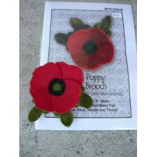 Red Poppy Felt Brooch - KIT