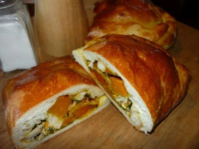 Roasted Pumpkin, Chicken and Feta Calzone